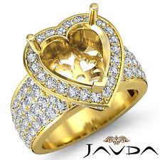 Diamond Engagement Ring Designer Heart Pre-Set Semi Mount 18k Yellow Gold 1.5Ct