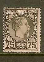 "MONACO STAMP TIMBRE N° 8 "" PRINCE CHARLES III 75c NOIR 1885 "" NEUF xx TB SIGNE"