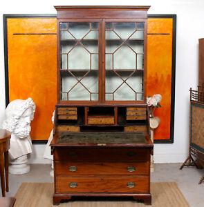 Antique Georgian Secretaire Bureau Bookcase Glazed Mahogany Library Cabinet