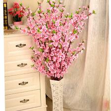 Artificial Cherry Spring Plum Peach Blossom Branch Silk Flower Tree Decor Home