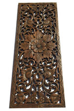 "Tropical Carved Wood Wall Decor Panel.Floral Wood Wall Art. Dark Brown 35.5""x13"""