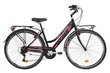 "BICI BICICLETTA TREKKING BOSTON 6V LADY 28"" 2018 DONNA city bike urban BLACK"