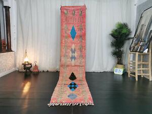 Moroccan Handmade Vintage Boujad Runner Rug 2'x10'9 Pink Geometric Berber Carpet