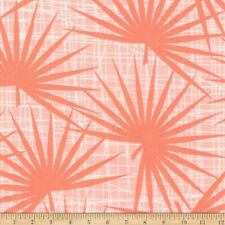 Coral PALM CANYON Robert Kaufman cotton fabric tropical leaves retro tiki peach