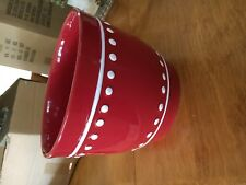 Red with White Dots Ceramic Pot  -NIB-