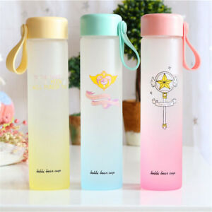 Cardcaptor Sakura Sailor Moon Glass Cup Travel Sport Portable Water Bottle 450ml