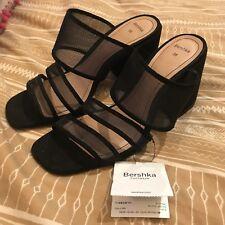 Bershka black heeled block slip on sandals, size 3