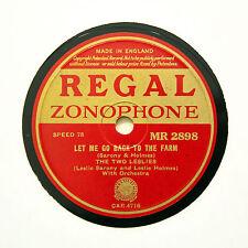 "Los dos Leslies ""déjeme volver a la granja"" (E +) Regal Zonophone [78 Rpm]"