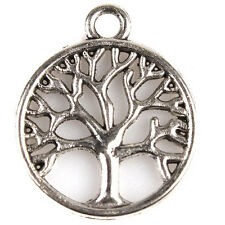100pcs Antique Silver Tree of Life Round Charms Hollow Pendant Zinc Alloy Lots D