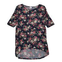 LuLaRoe Irma Tunic Top Tee Shirt Womens L Large Navy Blue Floral SS High Low