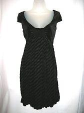 New Women's I.N. Studio Black Velvet Striped Bubble Dress 12 Large