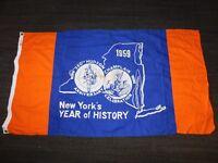 "VINTAGE 1609-1959 58"" X 32"" NEW YORK 350th HUDSON CHAMPLAIN CELEBRATION FLAG"