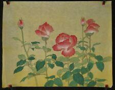 Rosen Japanisches Rollbild Kakejiku Kakemono Makuri Honshi 4651