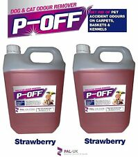 2 X 5L P-OFF PET URINE SMELL ODOUR REMOVER - WEE SMOKE FAECES POO - STRAWBERRY