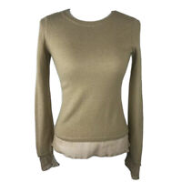 Moth Anthropologie Tan Sweater Womens Small Sheer Ruffle Hem Sleeves Wool Blend