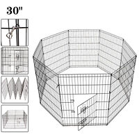 Black 30'' Metal Dog Exercise Playpen Pet Crate Folding Run Fence Animal Cage