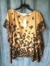 MICHAEL KORS New scarf print toffee color flutter top blouse sz S/M $120