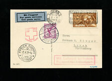 Zeppelin Sieger 39var 1929 4thSwitzerland Flight DE/CHmixed franking on zep card