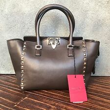 NWT $2250 Valentino Mini Rockstud Shopper Tote Bag - Chocolate Brown - Stunning!
