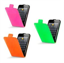Bright Neon Glossy PU Leather Flip Case Cover For Apple iPhone 4 iPhone 4S
