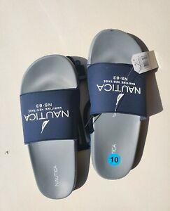 Men's Flip Flops Nautica Porter Maritime Logo Slide Sandals Navy/Charcoal Sz 10