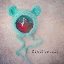 Mohair fluffy crochet Teddy bear Bonnet, Hat, Beanie. Photography prop. Newborn.
