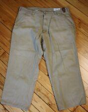 "Orvis 38 Short Tan Rhinohide Cotton Hunting Chino Pants 24"" Inseam Leather Trim"