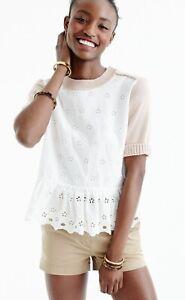 J. Crew Colorblock Peplum Eyelet Sweater Short Sleeves Ivory Beige GUC Size XS