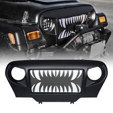 Xprite Black Matte Front Grille Mesh Teeth Steel for 1997-2006 Jeep Wrangler TJ