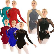 Womens Adult Ballet Dress Long Sleeve Lace Dance Gymnastic Leotard Dress Costume