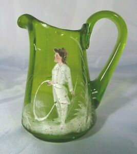 Small Victorian Ribbed Olive Green Glass Mary Gregory Enamelled Jug