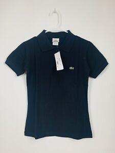 NWT Youth Girls' Lacoste Black Short Sleeve Polo Shirt Large