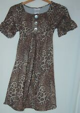 Bonnie Jean Youth Girls Dress Leopard Print SS 14 Cotton Belted Knee Length