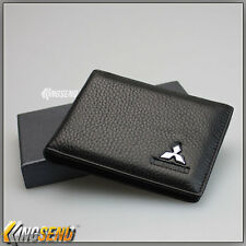 MITSUBISHI Genuine Leather Credit Card Holder Driving Licence Wallet Men ID Case