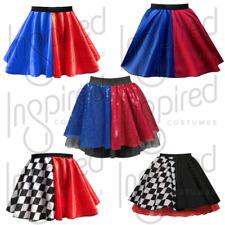 Girls Kids HARLEY QUINN Halloween Costume Skirt FANCY DRESS Jester / Harlequin