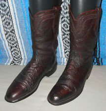 Lucchese 2000 cowboy western boots cordovan ox blood ostrich ropers Sz 9 D 9D