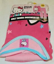 New Girls size 10 Hello Kitty Thermal Underwear Set Shirt Pants Large Pink
