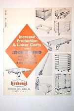 1957 IRONBOUND MATERIAL HANDLING EQUIPMENT BROCHURE #RR1009 skid jack hand truck