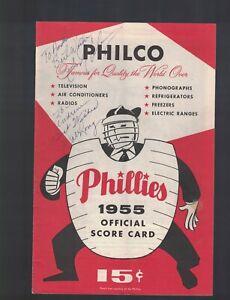1955 Philadelphia Phillies Score Card Program Signed by Dale Long W/OUR COA