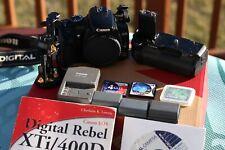 Canon EOS Digital Rebel XTi/ EOS 400D 10.1MP SLR Camera Black Body, Grip, Extras
