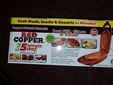 Brand New- SEALED Copper Infused Ceramic Red Mini Grill 5 Minute Chef W/Spatula!