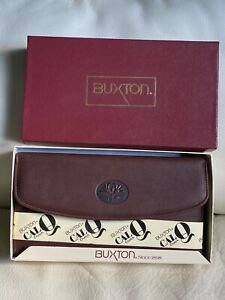 RARE VINTAGE Buxton Checkbook Leather Wallet Clutch with Calculator NEW!!