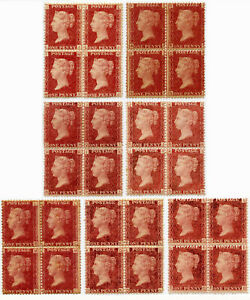 GB QV MINT BLOCKS PENNY RED PLATE NUMBERS SOME UNMOUNTED.. Each One Priced