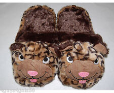 WOMENS Animal Slippers SUPER PLUSH Leopard Head S 5-6 OPEN BACK Gripper Soles