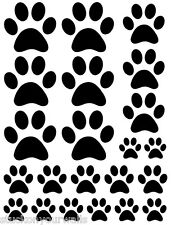 BLACK PAW PRINTS VINYL WALL DECAL STICKER DOG CAT total of 44 pieces stickers
