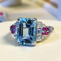 EG_ LK_ Women Multi-color Rhinestone Copper Ring Finger Engagement Jewelry Gift