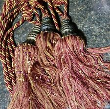 3 V-Cord Braided Rope Window Curtain Tassel Tieback large Red And Gold drape
