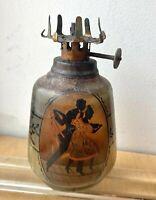 Antique Art Nouveau Jugendstil Secession Silhouette Dancers Table Oil Lamp Light