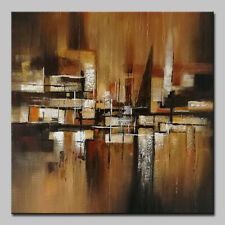 Mintura Hand Oil Paintings on Canvas Brown Abstract Picture Hotel Decor Wall Art