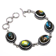 Labradorite Gemstone 925 Sterling Silver Handmade Bracelet Jewelry 9 7277